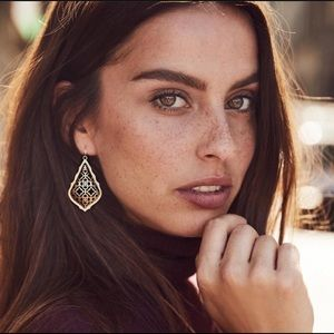 Kendra Scott Addie Drop Earrings-Gold Filigree Mix